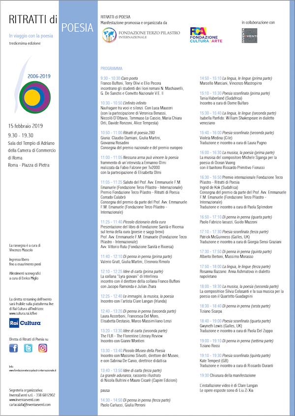 Ritratti di Poesia - XIII edizione - 15 febbraio 2019
